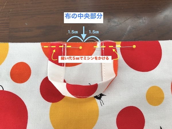 本体布の反対側にループ布を縫い付ける