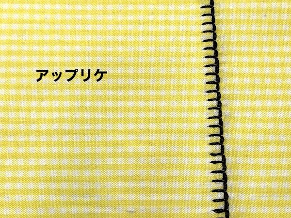 アップリケの縫い付けを試した様子